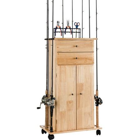 Organized fishing large utility box cabinet for Fishing rod storage cabinet