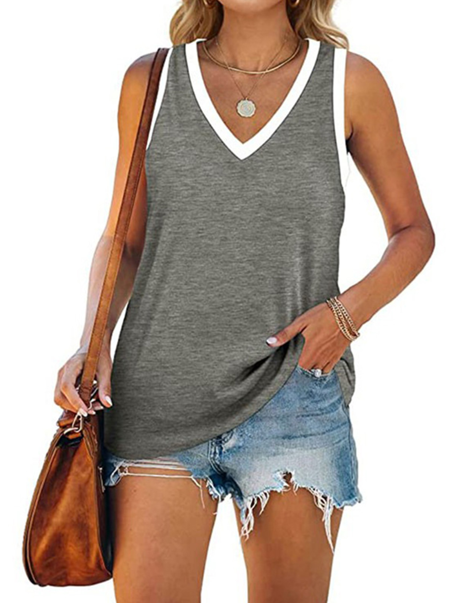 Womens Summer Sleeveless Vest Tank Tops Casual Slim Fit Basic Shirt Solid Blouse
