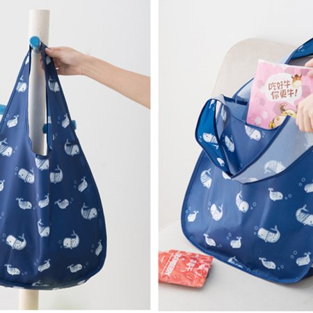 Homeholiday Folding Shopping Bags One-Shoulder Bag Oxford Cloth Waterproof Large Capacity Reticule Grocery Tote - image 3 of 4