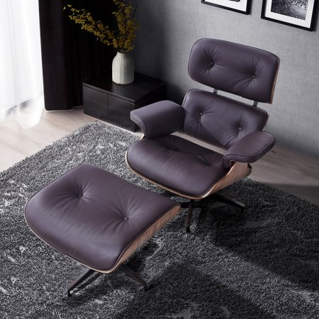 Lounge Chair and Ottoman Brown 100% Italian Genuine Full Grain Leather with Palisander Wood Everyone Loves Brown Italian Handcrafted Leather