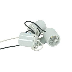 Satco Three Light Porcelain Socket with Metal - Porcelain Three Light