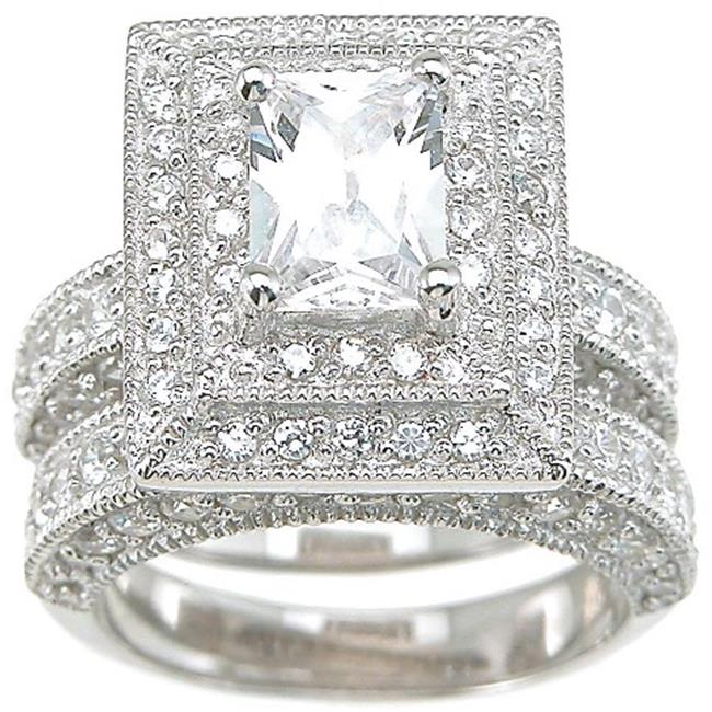 Plutus kkrs6300a 925 Sterling Silver Rhodium Finish CZ Antique Style Wedding Set Ring Size 6