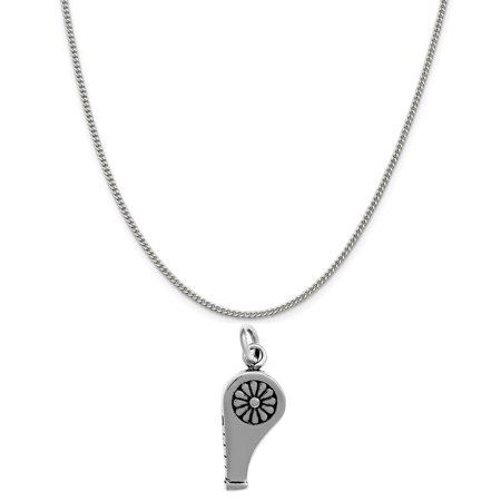 Whistle Charm Necklace - Sterling Silver 3D Whistle Charm on a Sterling Silver 18 Curb Chain Necklace