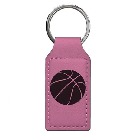 Keychain - Basketball Ball - Personalized Engraving Included (Pink Rectangle)