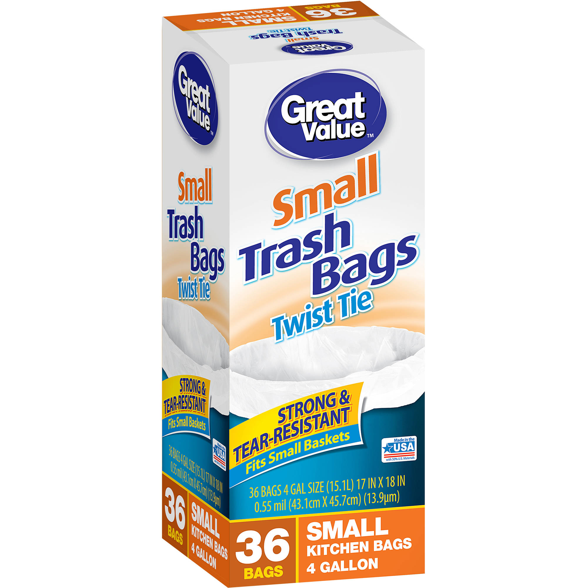 Great Value Twist Tie Small Kitchen Bags, 4 gal, 36 count