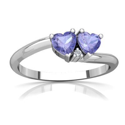 Tanzanite Sweetheart's Promise Ring in 14K White Gold by