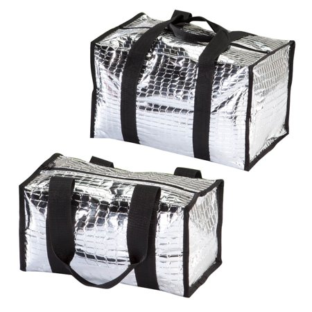 Insulated Portable Tote Bag Set for Cold or Hot Food and Beverages- Includes 1 Small and 1 Large Picnic Lunch Bag - Foldable Travel Totes with Webbed Carrying Handle
