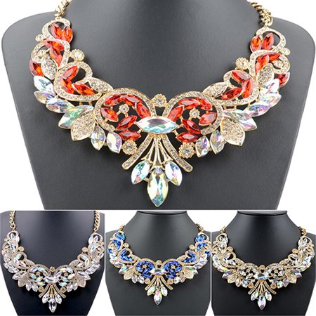 Girl12Queen Colorful Rhinestone Flower Pendent Chain Choker Statement Collar Bib - Plastic Flower Necklace