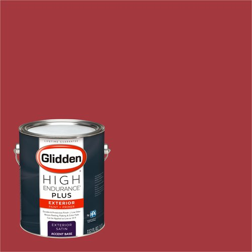 Glidden High Endurance Plus Exterior Paint and Primer, Cherry Red, #00YR 15/510