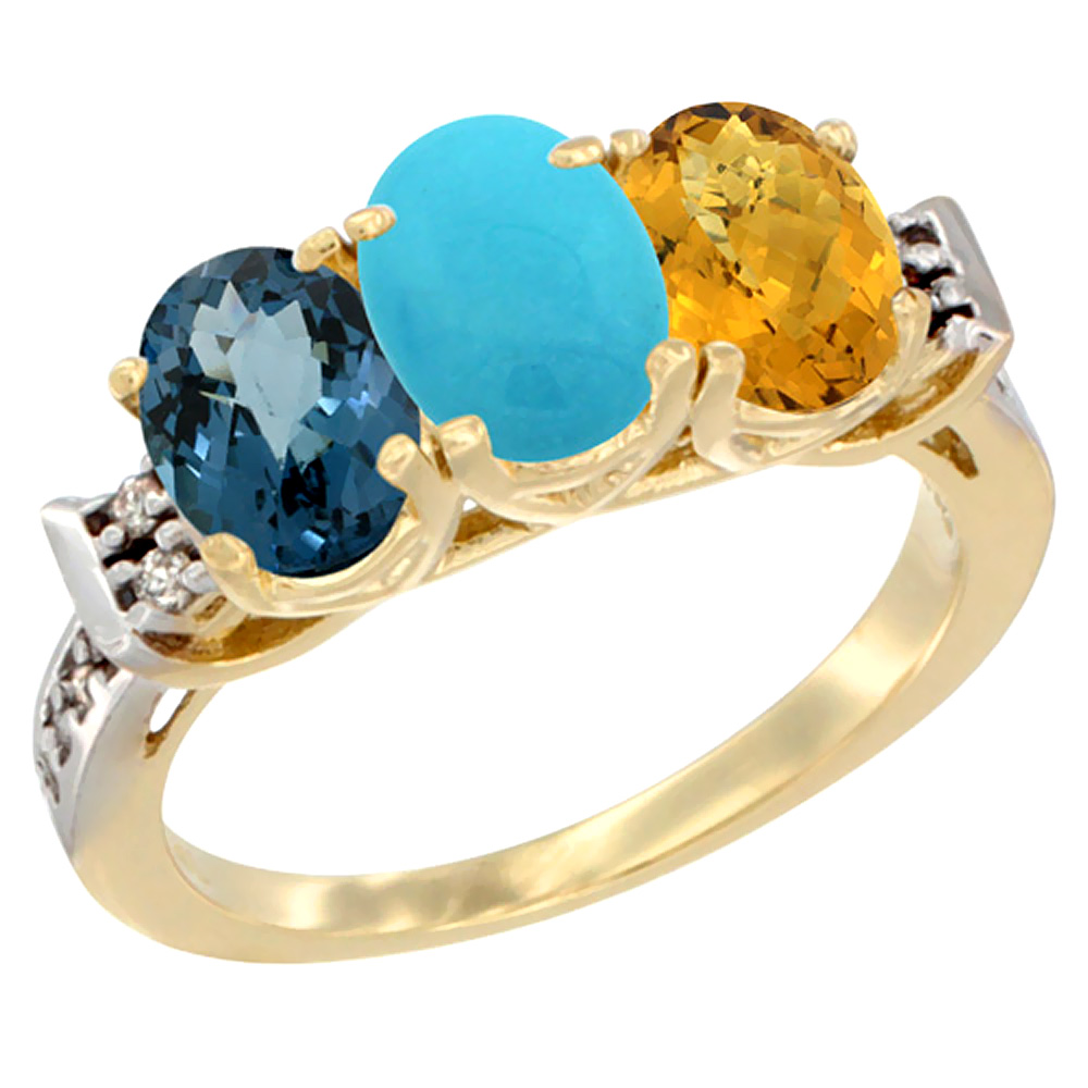 10K Yellow Gold Natural London Blue Topaz, Turquoise & Whisky Quartz Ring 3-Stone Oval 7x5 mm Diamond Accent, sizes 5 - 10