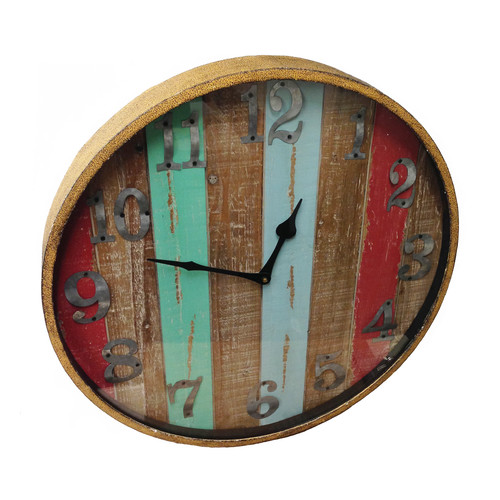Wilco Home Timberland Wood and Metal Wall Clock