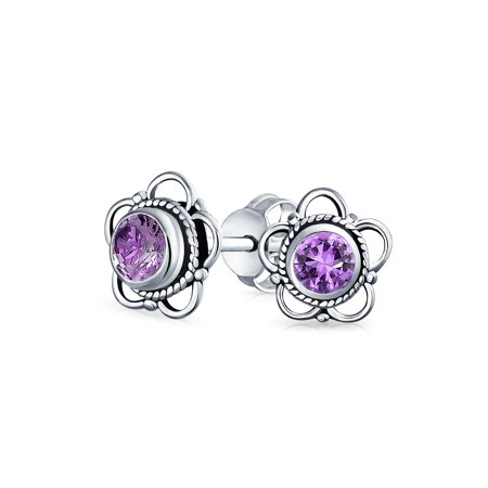 Round Shape Amethyst Gemstone (Bali Style Tiny Round Open Flower Gemstone Amethyst Stud Earrings For Women 925 Sterling Silver February Birthstone)