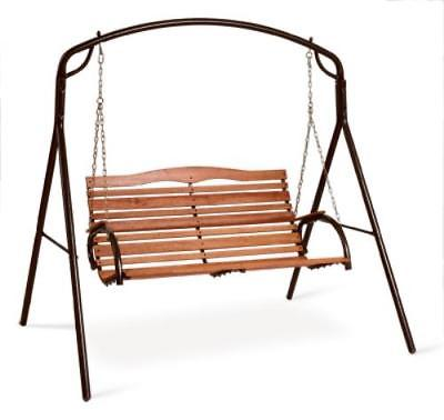 Country Garden Hi-Back Swing Seat With Chains Bronze Finish Steel Oval