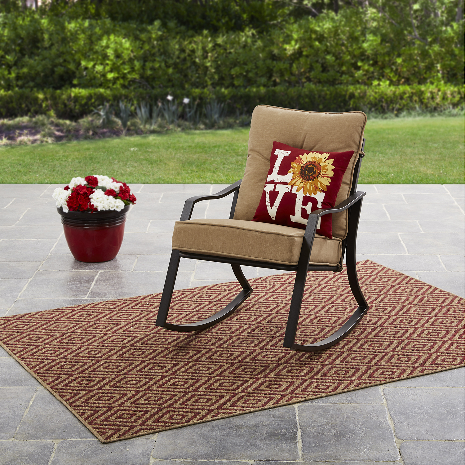 Mainstays Forest Hills Outdoor Rocking Chair - Tan