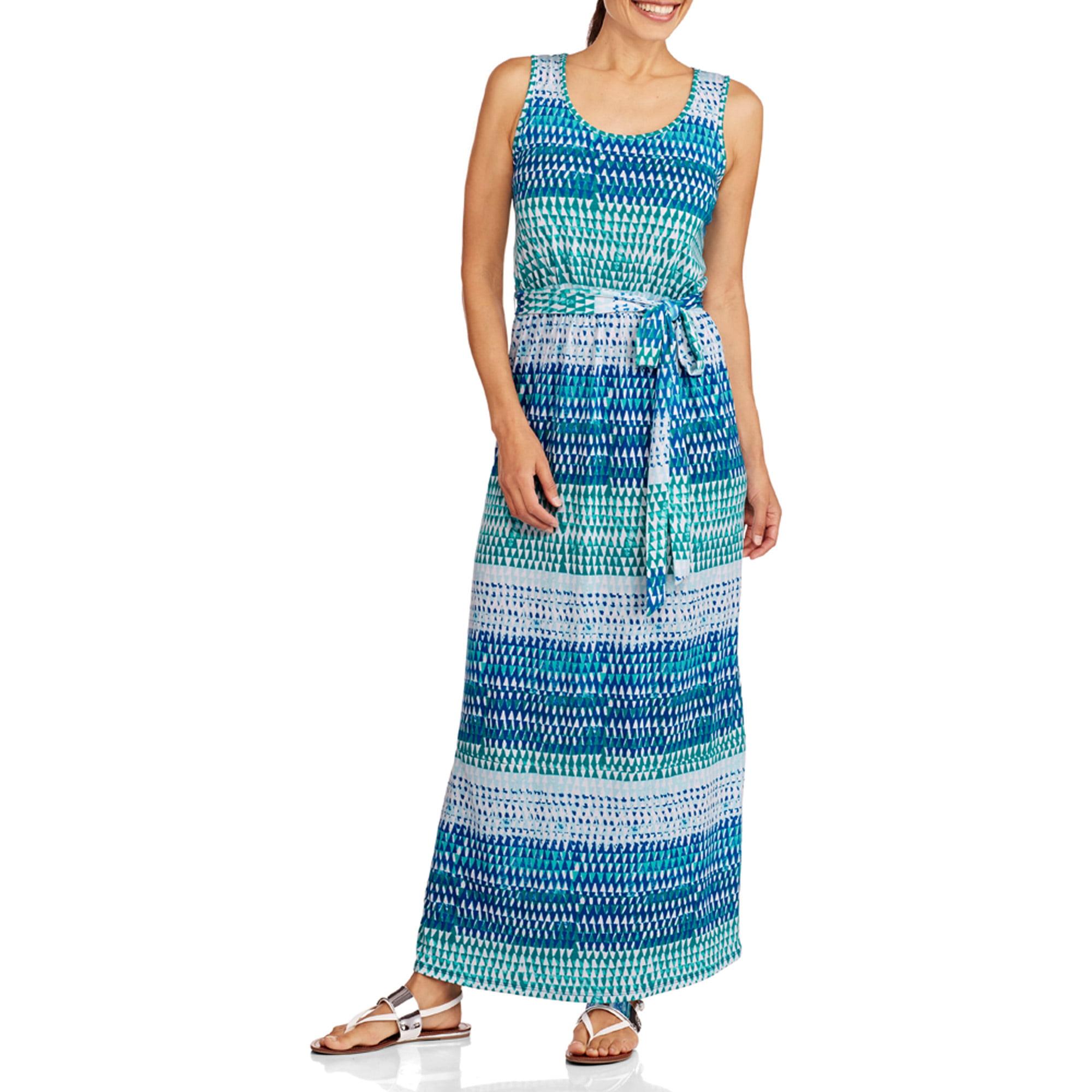 Fourteenth Place Women's Belted Striped Maxi Dress