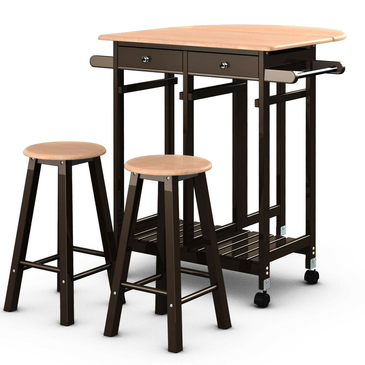 Costway 3PC Wood Kitchen Island Rolling Cart Set Dinning Drop Leaf Table w/ 2 Stools
