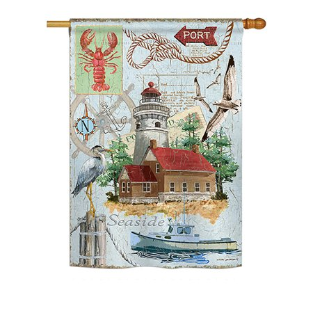 "Breeze Decor - Seaside Lighthouse Coastal - Everyday Nautical Impressions Decorative Vertical House Flag 28"" x 40"" Printed In USA"