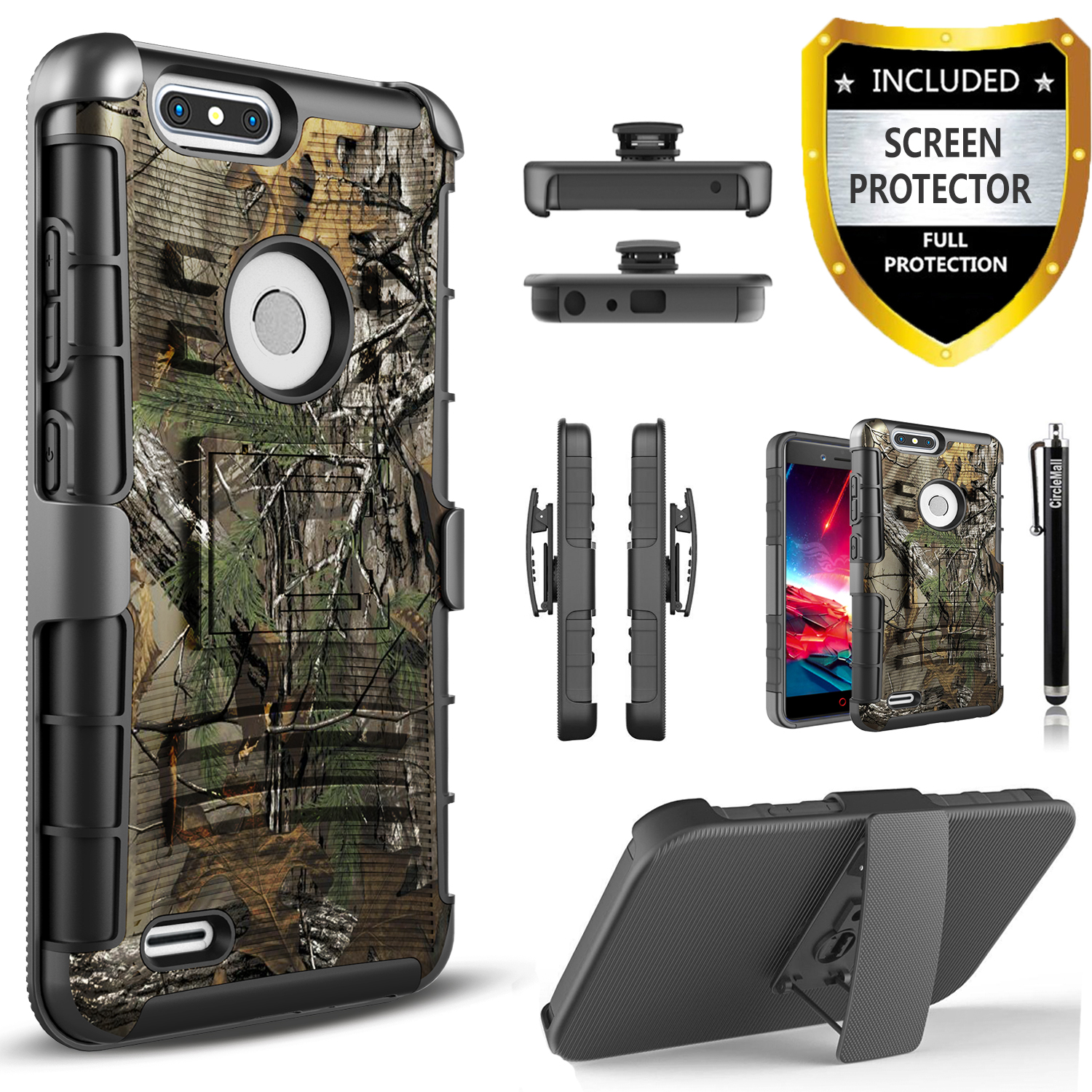 ZTE Blade Z Max Case, ZTE Zmax Pro 2 Case, ZTE Sequoia Case,  [Combo Holster] Phone Cover And Built-In Kickstand  with [HD Screen Protector] And Circlemalls Stylus Pen For ZTE Blade ZMax Phone(Camo)