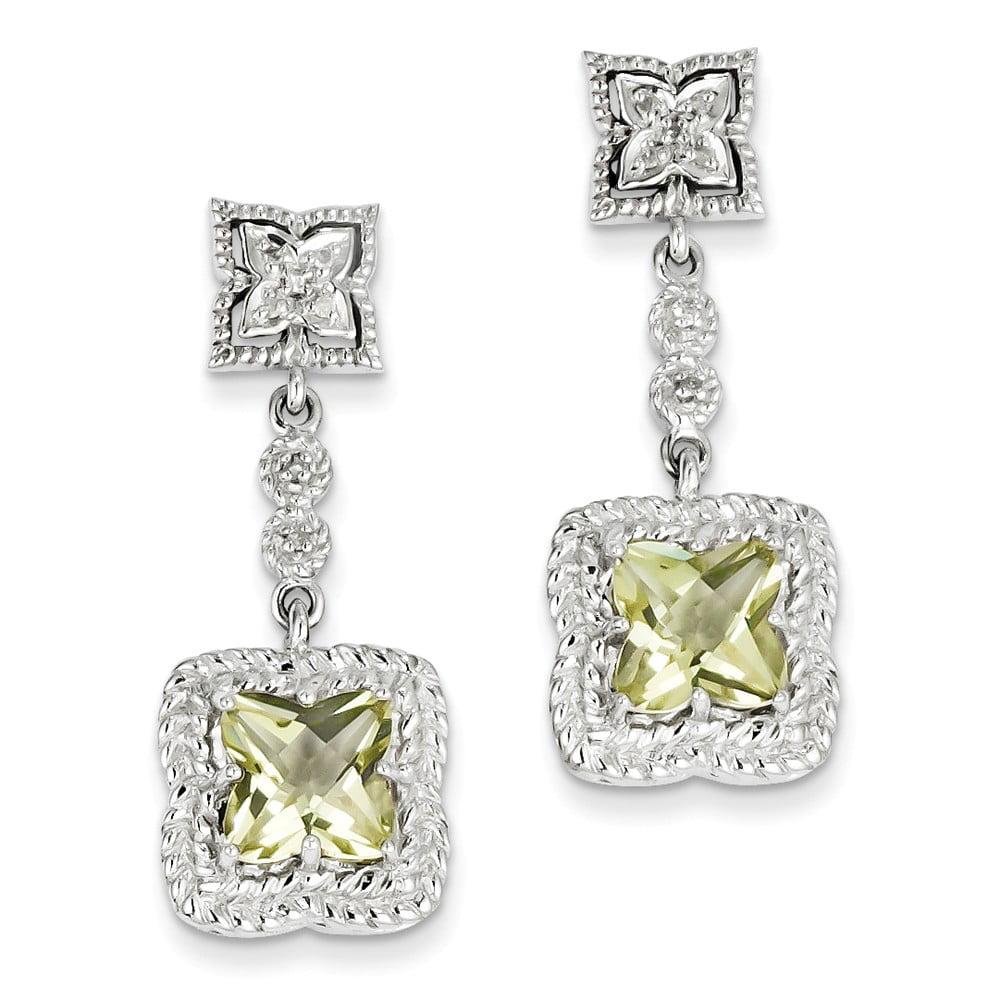 Sterling Silver Lemon Quartz & Diamond Earrings. Carat Wt- 0.07ct (1.3IN x 0.5IN )