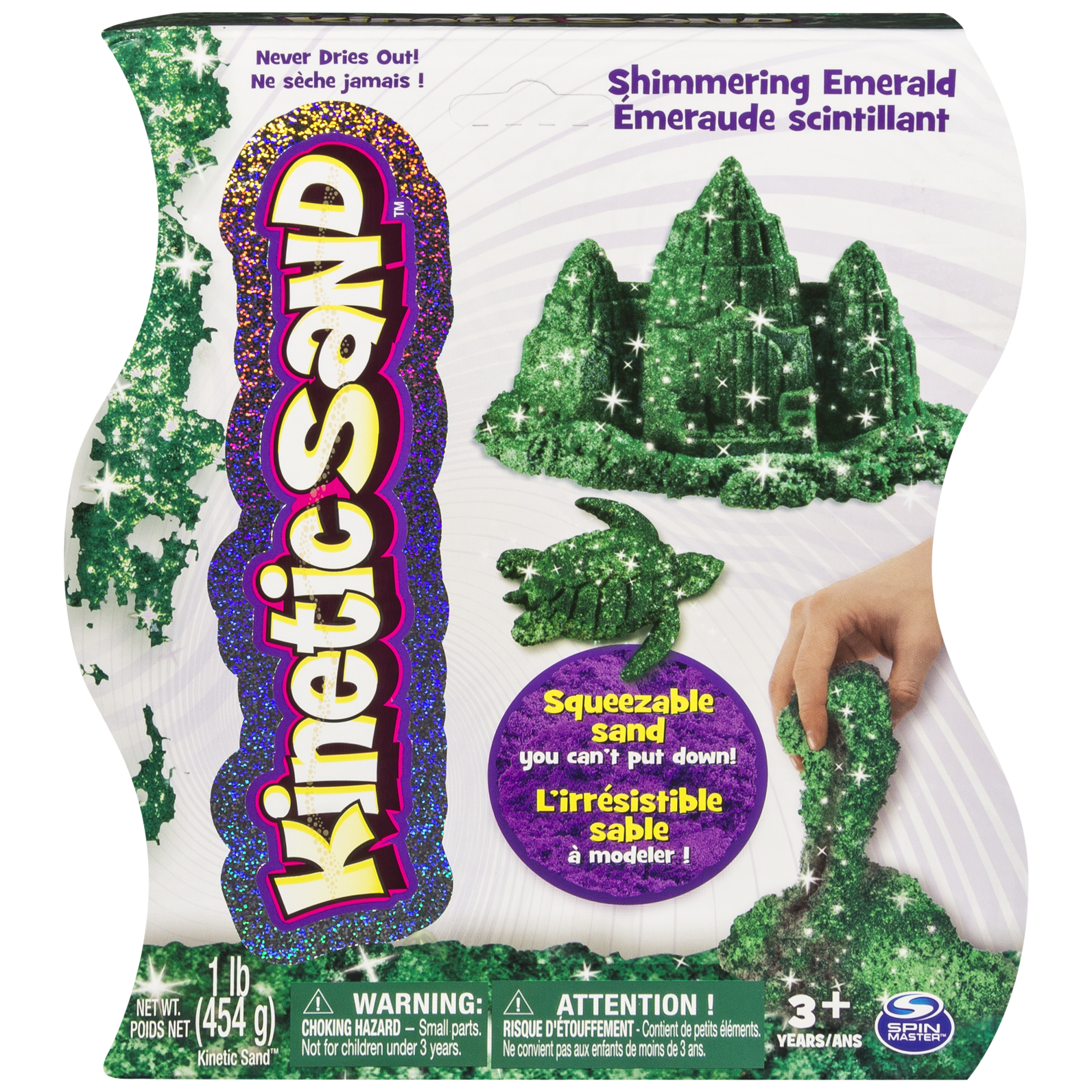 Kinetic Sand, 1lb Shimmering Emerald Green Magic Sand for Ages 3 and Up