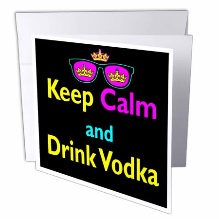 3dRose CMYK Keep Calm Parody Hipster Crown And Sunglasses Keep Calm And Drink Vodka, Greeting Card, 6 x 6 inches, - Absolut Vodka Drinks