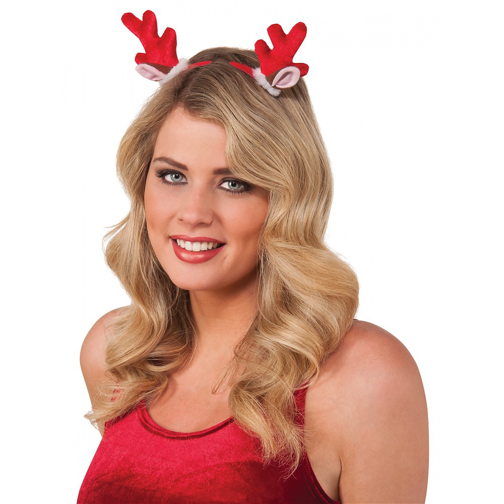 Mini Reindeer Clips Adult Costume Accessory Red