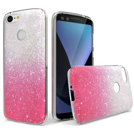 594daaab5d24 Insten Two Tone Glitter PC TPU Rubber Case Cover For Google Pixel 3 - Hot  Pink - Walmart.com
