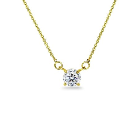 - ICZ Stonez  Sterling Silver 6mm Solitaire Choker Necklace Made with Swarovski Zirconia