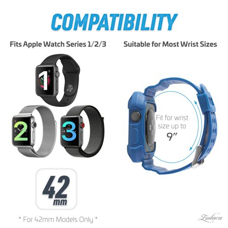 42mm Apple Watch Band by Zodaca Rugged Protective Watch Band Replacement Strap For Apple Watch Series 1/2/3 42mm - Blue/White - image 4 de 7