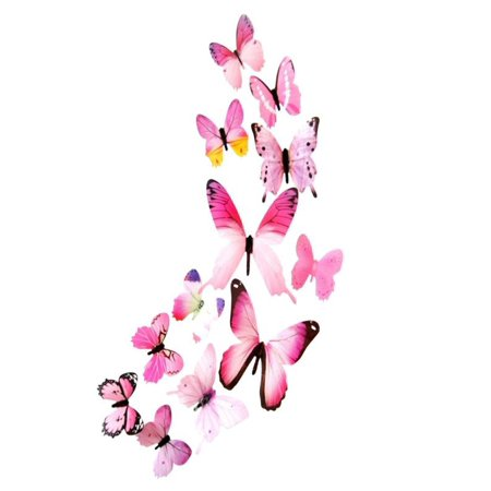 Huppin's 12pcs Decal Wall Stickers Home Decorations 3D Butterfly Rainbow Pink