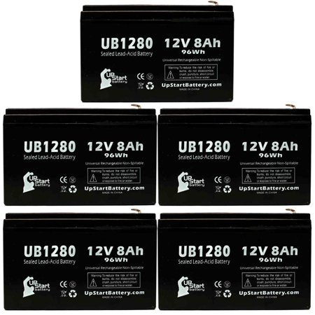 5x Pack - CYBERPOWER CPS825AVR Battery Replacement - UB1280 Universal Sealed Lead Acid Battery (12V, 8Ah, 8000mAh, F1 Terminal, AGM, SLA) - Includes 10 F1 to F2 Terminal Adapters - image 4 de 4