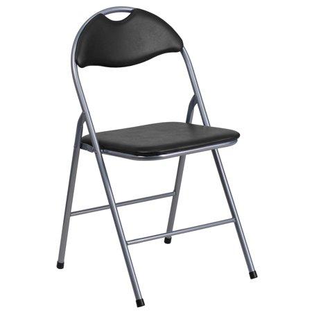 Flash Furniture 4pk HERCULES Series Black Vinyl Metal Folding Chair with Carrying Handle
