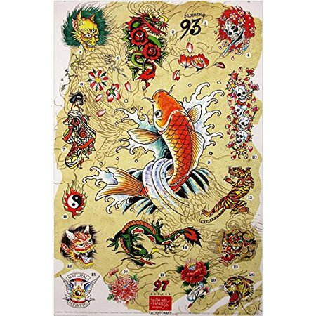 Ed Hardy Japanese Chart 36x24 Tattoo Art Print Poster Roses Flowers Skulls Koi Fish Hidden - Fish Tatoos
