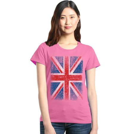 Shop4Ever Women's Union Jack British Flag UK Graphic T-Shirt