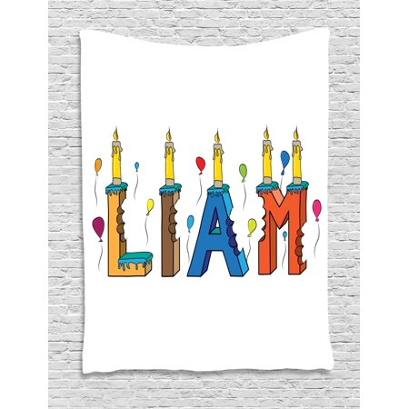 Liam Tapestry, English First Name in a Colorful Letter Style Cake Design with Bite Marks and Candles, Wall Hanging for Bedroom Living Room Dorm Decor, 60W X 80L Inches, Multicolor, by Ambesonne