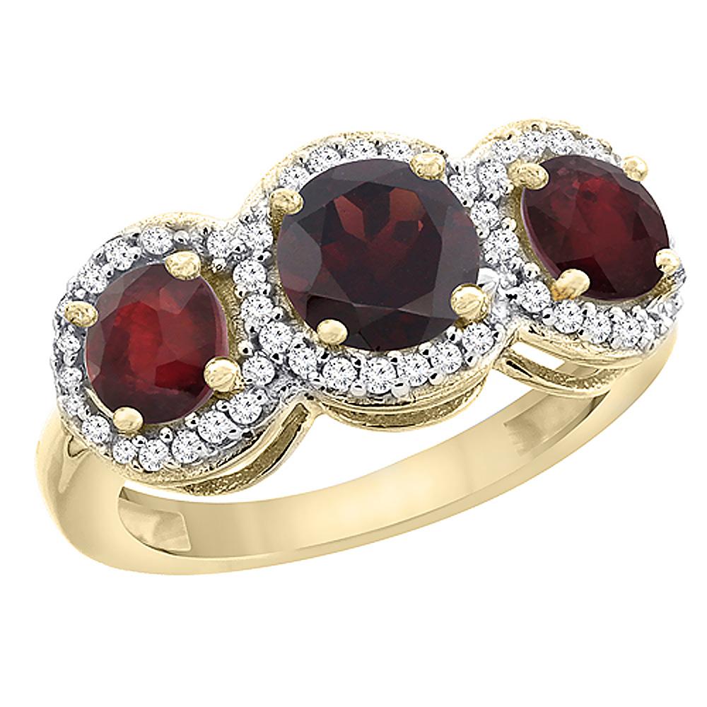 14K Yellow Gold Natural Garnet & Enhanced Ruby Sides Roun...
