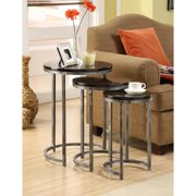 Somette Espresso 3-Tier Round Nesting Accent Tables (Set of 3)