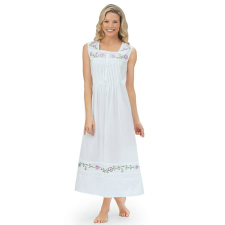Bodice Lace Nightgown (Women's Long Cotton Sleeveless Nightgown Pajama with Floral Embroidery & Pintuck Bodice, X-Large,)