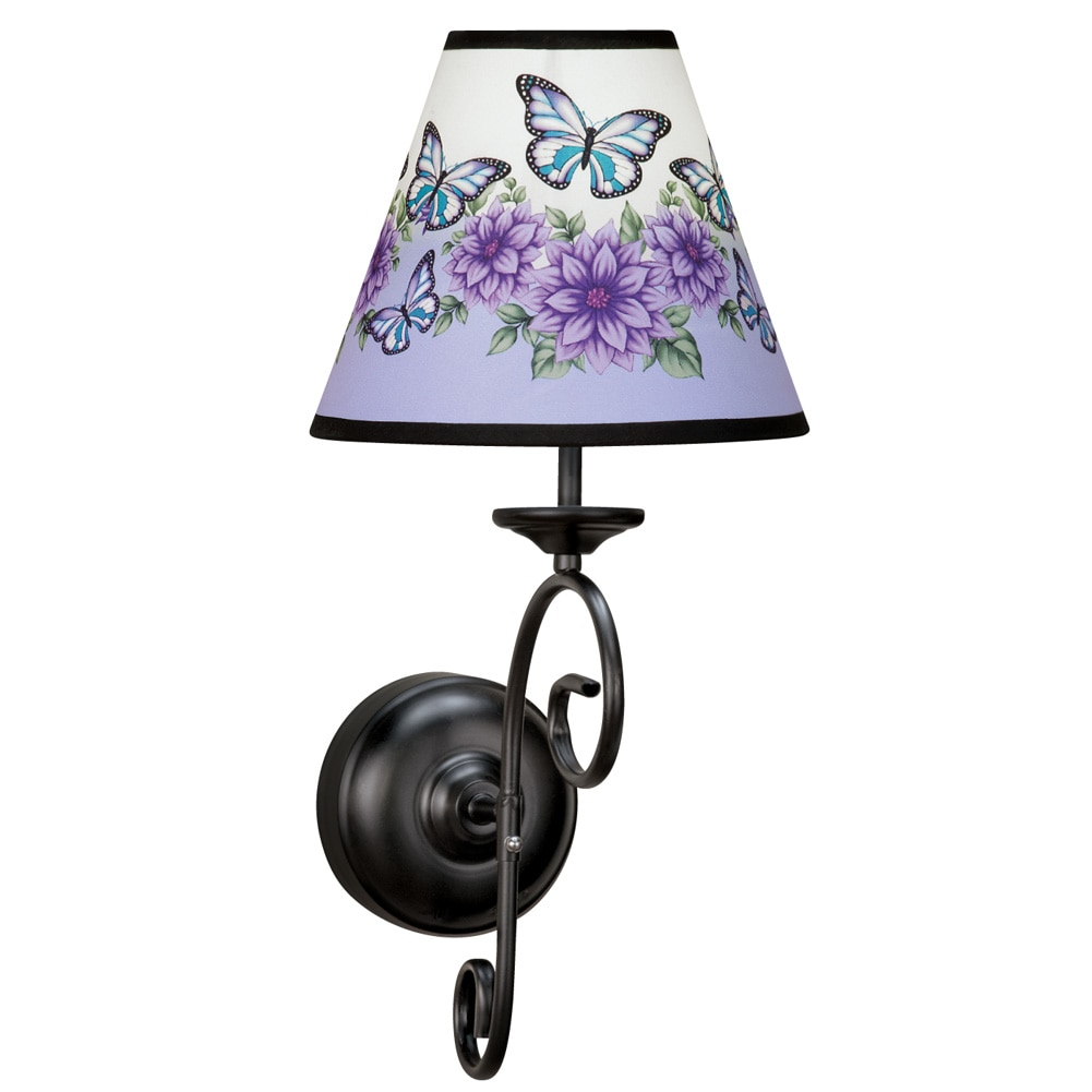 Butterfly Floral Wall Sconce Lamp With Remote, Wireless, Battery Operated,  Purple