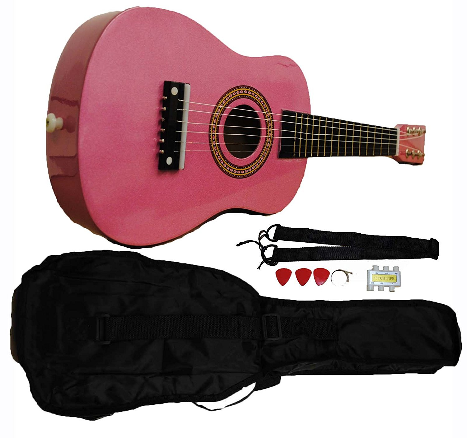 Mini Kids Acoustic Toy Guitar Kit Gig Bag + Picks + Strap + Tuner Glitter Pink by