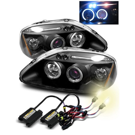 4300K Hid For 96 98 Civic Ek Led Eyelids Halo Projector Headlights Glossy Black