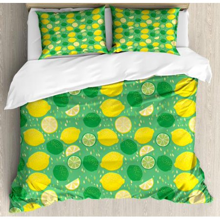 Lemons Queen Size Duvet Cover Set, Messy Spotted Lime Drawings and Slices on Leaves Background, Decorative 3 Piece Bedding Set with 2 Pillow Shams, Sea Green Fern Green and Yellow,