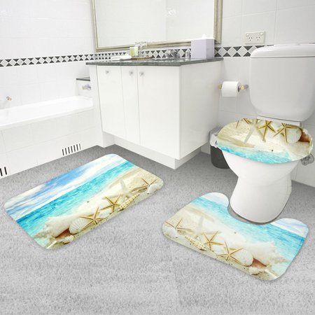 3Pcs Bathroom Washroom Toilet Lid Cover + Floor Pedestal Rug + Non-slip Pad Mat Carpet Set  Anti-Slip Floor Carpet Home Decor ()