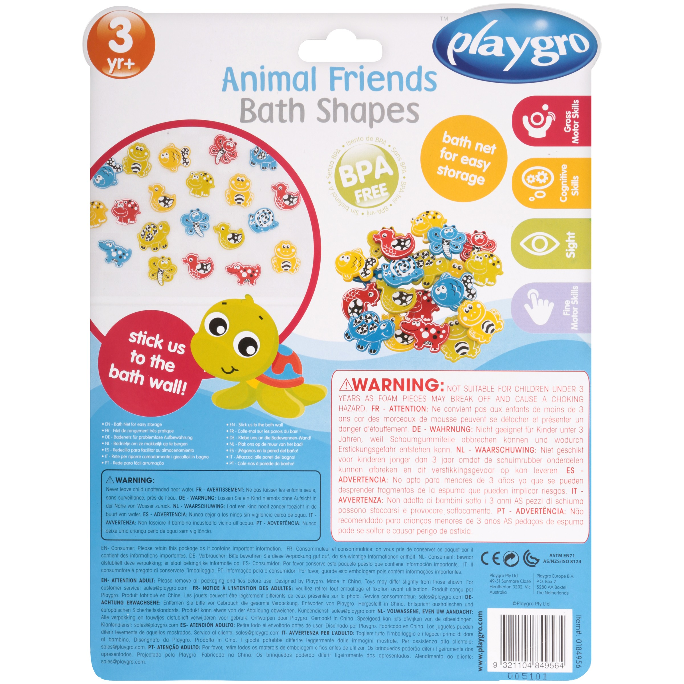 Playgro Bath Shapes Animal Friends with Net and Suction Cup, 20 ...