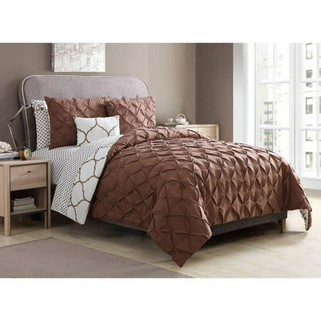 VCNY Home Copper Ogee 9-Piece Reversible Bedding Comforter Set, Sheet Set and Decorative Pillows Included ()