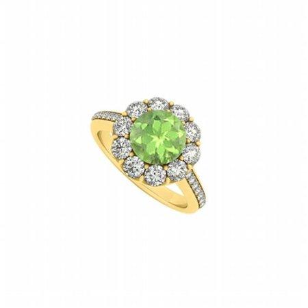 UBNR50578AGVYCZPR 18K Yellow Gold Vermeil August Birthstone Peridot & CZ Halo Engagement Ring, 10