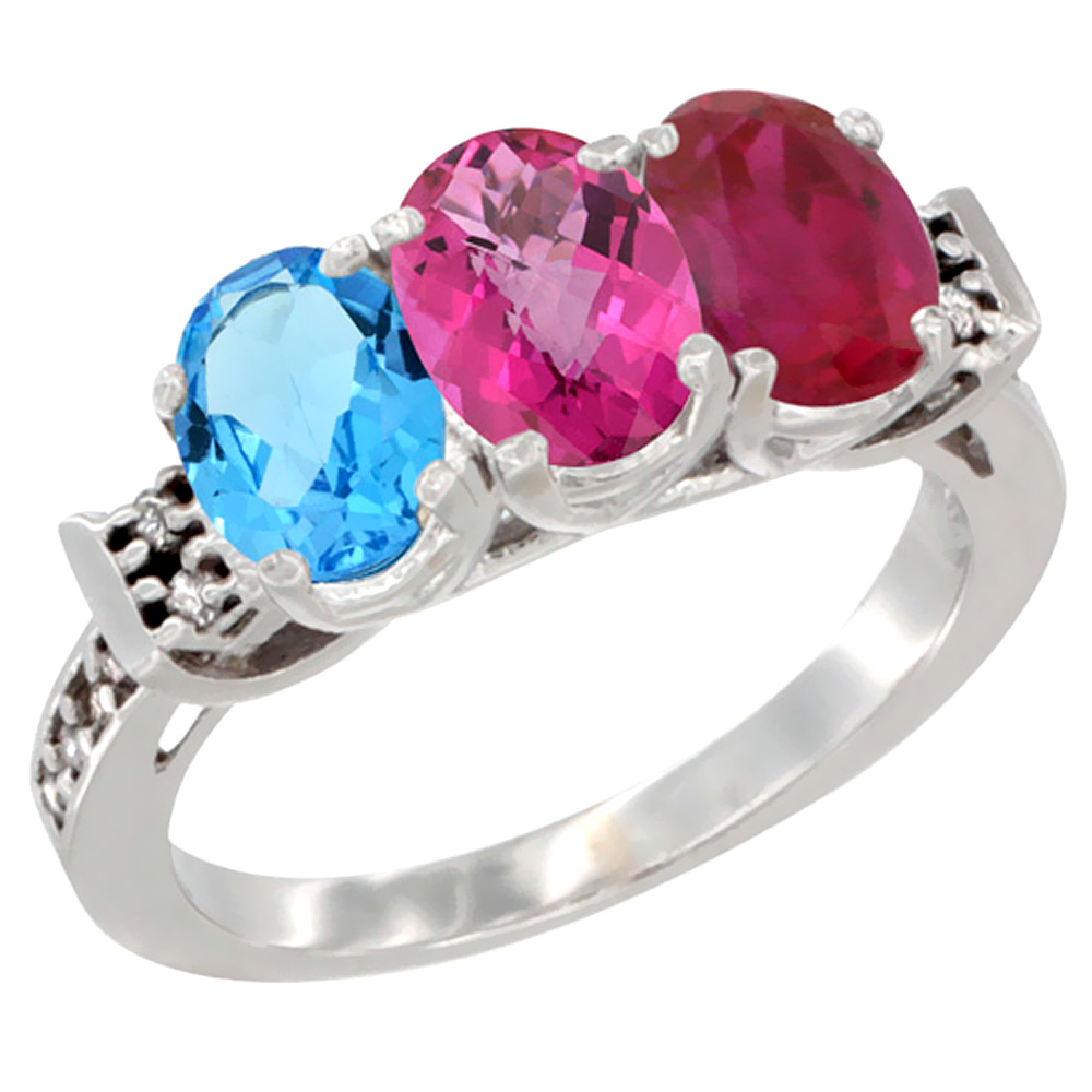 10K White Gold Natural Swiss Blue Topaz, Pink Topaz & Enhanced Ruby Ring 3-Stone Oval 7x5 mm Diamond Accent, sizes 5 10 by WorldJewels