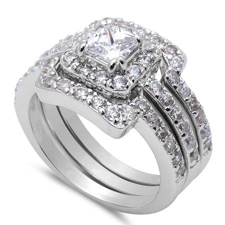 3 Piece Engagement Bridal Set .925 Sterling Silver Ring Sizes 11 (Engagement Bridal Sets)