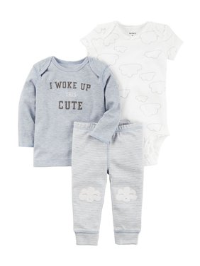 Product Image Carters Baby Boys 3-Piece Little Character Set Woke Up This Cute Blue