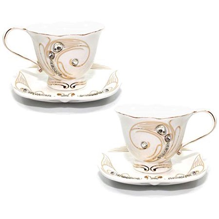 4-pc Coffee or Tea Set, 24K Gold Accents with Rhinestones, 7.5 Oz. Bone China Cups with 5.5